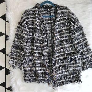Zara Textured Fringe Boho Jacket